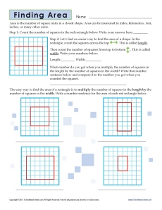 3rd Grade Finding Area Worksheets | Geometry