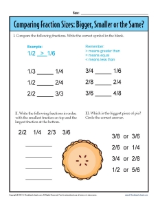 3rd Grade Fraction Worksheets | Comparing Sizes