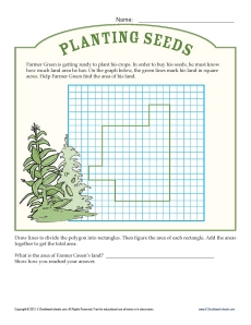 math worksheet : 3rd grade math worksheets  find the area on farmer green s farm : Area Math Worksheets