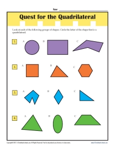 3rd Grade Math Worksheets | Find the Quadrilaterals