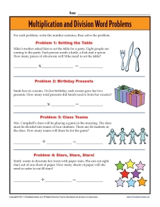 3rd Grade Word Problem Worksheets
