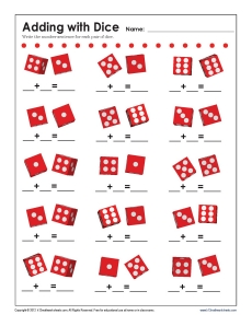 add with dice math worksheets. Black Bedroom Furniture Sets. Home Design Ideas