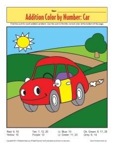 math worksheet : addition color by number  car  math worksheets : K12 Math Worksheets