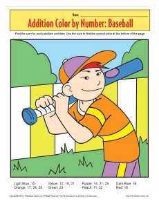 math worksheet : addition color by number  baseball  math worksheets : Baseball Math Worksheets