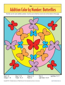 addition color by number butterflies math worksheets. Black Bedroom Furniture Sets. Home Design Ideas