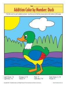 Addition_Color_by_Number_Duck