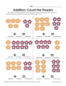 Count The Flowers Addition Math Worksheets