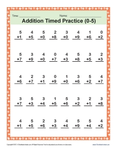 Printables Timed Addition Worksheets addition timed 0 5 math worksheets worksheets