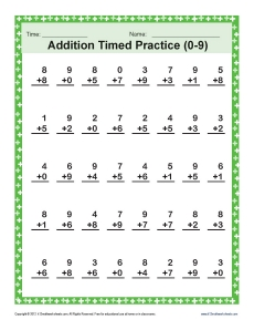 Addition Timed 0-9 | Math Worksheets