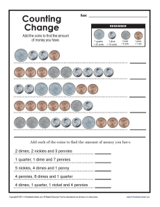 Counting Change | 2nd Grade Addition Worksheets