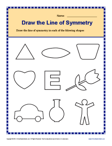 Draw the Lines of Symmetry | 4th Grade Geometry Worksheets