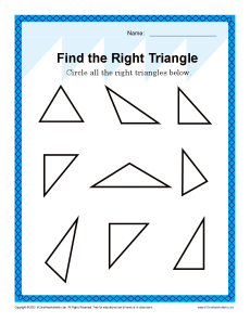 Worksheet Triangles Worksheet find the right triangle 4th grade geometry worksheets math worksheets
