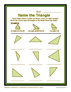 Name the Triangle | 4th Grade Geometry Worksheets