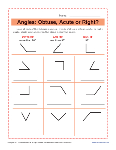Angles: Obtuse, Acute or Right | 4th Grade Geometry Worksheets