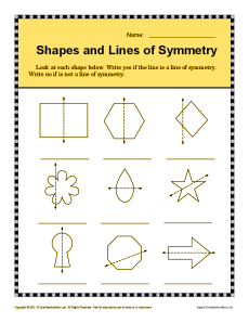 Shapes and Lines of Symmetry | 4th Grade Geometry Worksheets