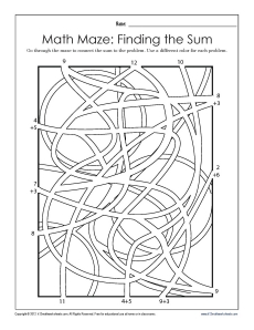 finding the sum match maze  math worksheets