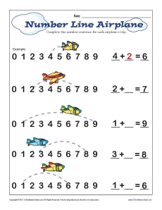 math worksheet : number line  airplane  math worksheets : Number Line Addition Worksheet