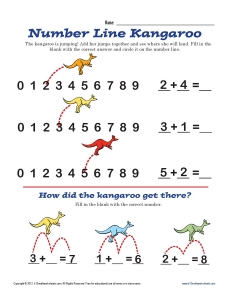 math worksheet : number line  kangaroo  math worksheets : Number Line Addition Worksheet