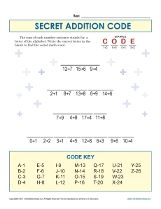 Secret Code for Subtraction | Kindergarten, 1st Grade Math Worksheets