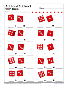 Add and Subtract With Dice | Kindergarten, 1st Grade Math Worksheets