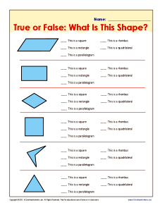 True or False: What Is This Shape? | 5th Grade Geometry Worksheets