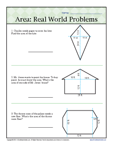 Area: Real World Problems | 6th Grade Geometry Worksheets