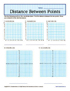 Gr Distance Between Points on printable geometry worksheets high school