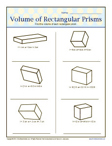 Volume of Rectangular Prisms | 6th Grade Geometry Worksheets