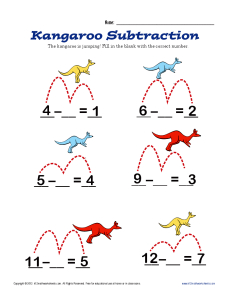 Kangaroo Subtraction | Kindergarten, 1st Grade Math Worksheets