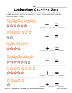 Subtract the Stars | Kindergarten, 1st Grade Math Worksheets