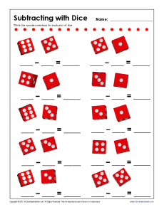 math worksheet : subtracting with dice  kindergarten 1st grade math worksheets : Subtraction Worksheet Kindergarten