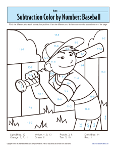 math worksheet : subtraction color by number baseball  kindergarten 1st grade  : Math Worksheets Coloring