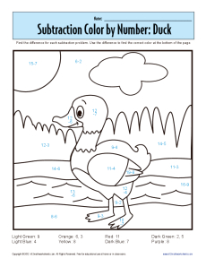 Printables Coloring Subtraction Worksheets subtraction color by number duck kindergarten 1st grade math get worksheet
