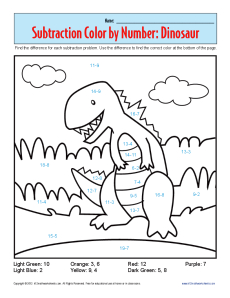 math worksheet : subtraction color by number dinosaur  kindergarten 1st grade  : First Grade Subtraction Worksheet