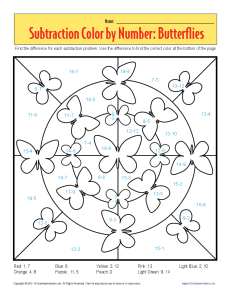 math worksheet : subtraction color by number butterflies  kindergarten 1st grade  : Color By Subtraction Worksheets
