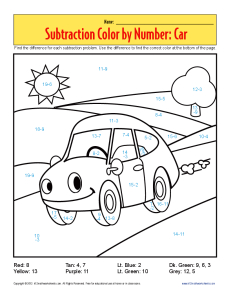 Subtraction Color by Number Car | Kindergarten, 1st Grade Math ...