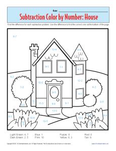 ... Color by Number House | Kindergarten, 1st Grade Math Worksheets