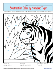 Subtraction Color by Number Tiger | Kindergarten, 1st Grade Math ...