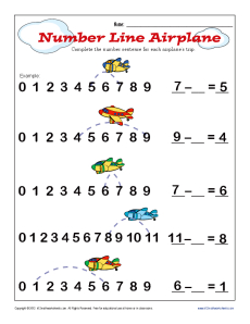 math worksheet : subtraction number line airplane  kindergarten 1st grade math  : Number Line Math Worksheets