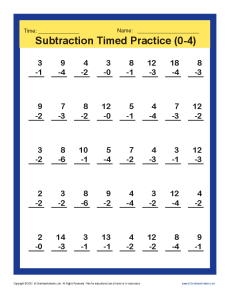 math worksheet : subtraction timed 0 4  kindergarten 1st grade math worksheets : Grade 4 Math Worksheets