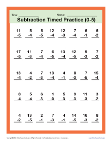 Subtraction Timed 0-5 | Kindergarten, 1st Grade Math Worksheets