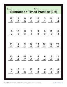 Subtraction Timed 0-6 | Kindergarten, 1st Grade Math Worksheets
