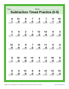 Subtraction Timed 0-9 | Kindergarten, 1st Grade Math Worksheets
