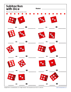 Subtraction With Dice | Kindergarten, 1st Grade Math Worksheets