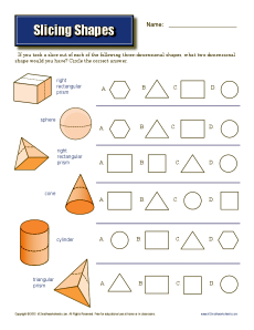 Worksheet Three Dimensional Shapes Worksheets slicing shapes 7th grade geometry worksheets math worksheets