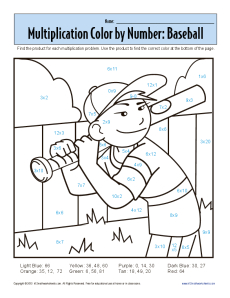 Multiplication Color by Number - Baseball | Printable Math Worksheets