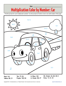 math worksheet : multiplication color by number  car  practice math worksheets : Multiplication Worksheets Coloring