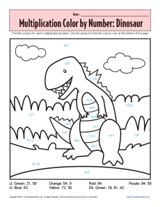 math worksheet : multiplication color by number  dinosaur  practice math worksheets : Math Worksheets Color By Number