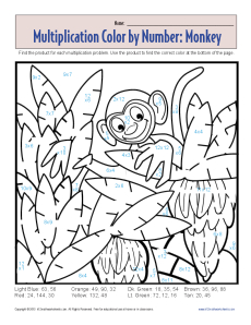 Multiplication color by number monkey printable math for Division facts coloring page