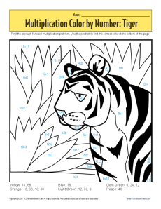 Multiplication Color by Number - Tiger | Printable Math WorksheetsMath Worksheets